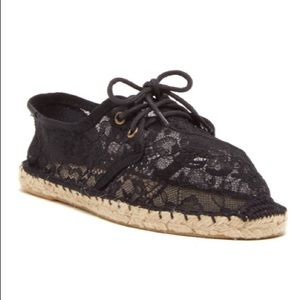 Soludos Sheer Lace Up Espadrilles Size 39